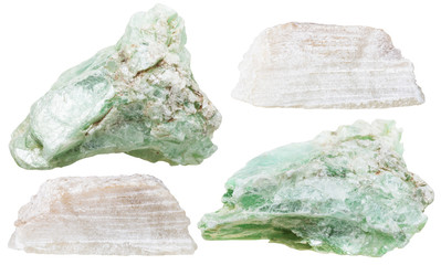 set of talc mineral stones isolated
