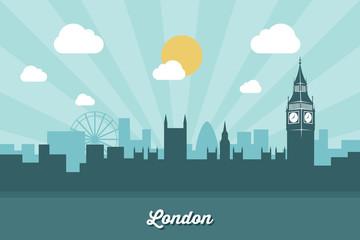Foto op Plexiglas Blauw London skyline - flat design