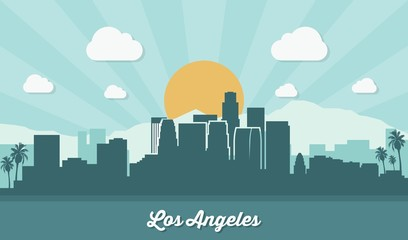 Los Angeles skyline - flat design
