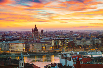 Printed kitchen splashbacks Budapest Overview of Budapest with St Stephen (St Istvan) Basilica