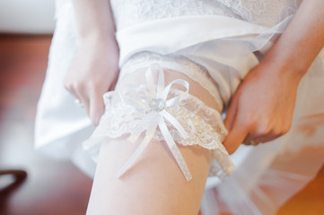 Bride in lingerie. pre wedding preparations