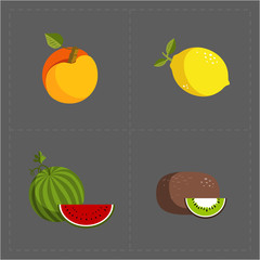 Colorful Fruit Icon Set on Grey Background