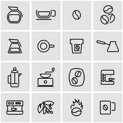 Vector line coffee icon set. Coffee Wash Icon Object, Coffee Wash Icon Picture, Coffee Wash Icon Image - stock vector