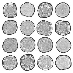 Collection of vector tree rings background