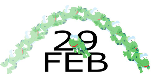 Leap Year:  Cartoon frog leaping over Feb 29