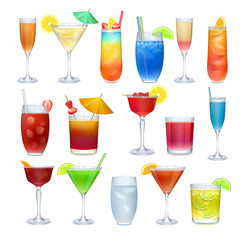 Alcohol coctails and other drinks set