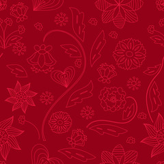 Vector seamless floral pattern, floral bright colorful background
