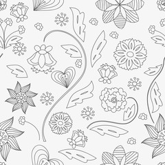 Vector seamless floral pattern, floral black and white background
