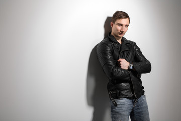handsome sexy man in a leather jacket