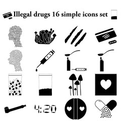 Illegal drugs 16 simple icons set