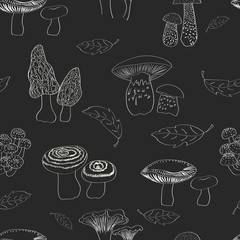 Mushrooms seamless pattern. Black and white repeating background.