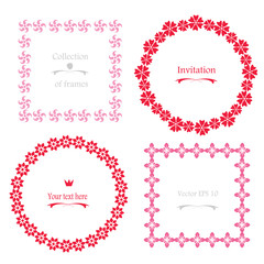 Circle Frames, Square Frames -  set wreath borders with abstract stylized flowers isolated on white.Cute pink and red vintage  garlands for your design, greeting cards, wedding announcements, posters.