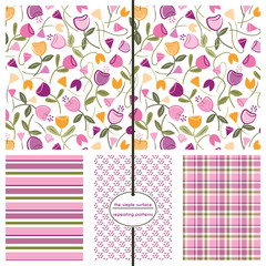Repeating patterns for digital paper, scrapbooking, cards, gift wrap, invitations, announcements, backgrounds and borders. File includes: floral print, stripes, dots and plaid.