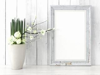 Empty modern style frame, 3D render