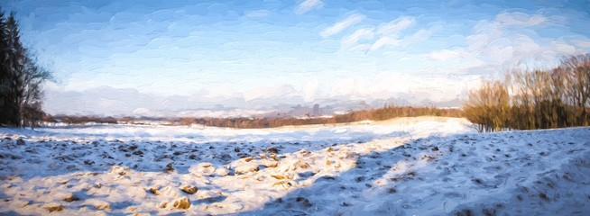 Painted panorama winter landscape. Digital structure of painting.