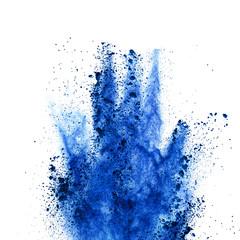 Fototapete - Explosion of blue powder on white background