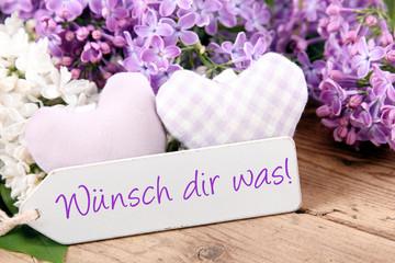 Grußkarte - Wünsch dir was! - Blumenstrauß - Flieder