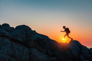 Hiker with backpack Wall mural