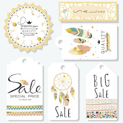 Light green gold pink tag sale in boho style on valentine's day