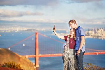 Romantic loving couple making selfie in San Francisco