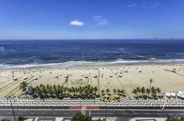 Palms with mosaic on Copacabana Beach in Rio de Janeiro, Brazil