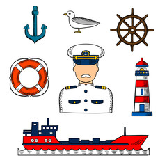 Captain or sailor with nautical objects