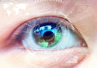 Close up women eye scanning technology in the futuristic, operat