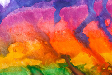 Watercolor paint abstract. Multi-colored iridescence.