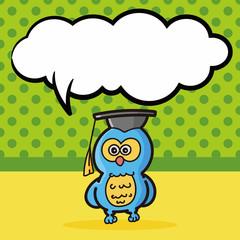 owl color doodle, speech bubble