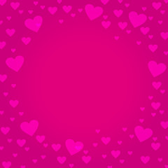 Pink hearts on deep pink border background - design for  Valentine's Day, Love card, Mother's Day, Weddings