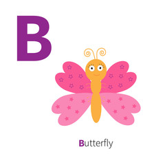 Letter C Butterfly insect Zoo alphabet. English abc with animals Education cards for kids Isolated White background Flat design