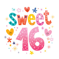 Sweet Sixteen text decorative unique typography lettering