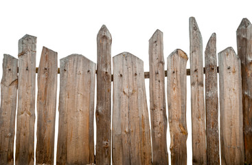 Wooden fence, isolated on white