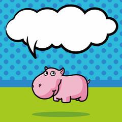 animal hippo doodle, speech bubble