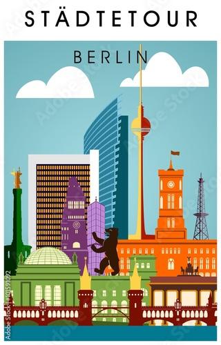 berlin poster bunt mit wichtigen sehenw rdigkeiten hochkant silhouette panorama stockfotos und. Black Bedroom Furniture Sets. Home Design Ideas