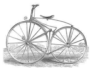 early two wheel bicycle vintage drawing