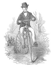 Gentleman bicycle rider in countryside drawing