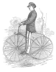 Gentleman bicycle rider In the stirrups drawing