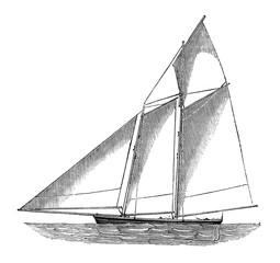 Antique Woodcut Sailboat three masts