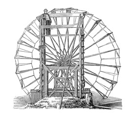 Vintage drawing of water wheel invention
