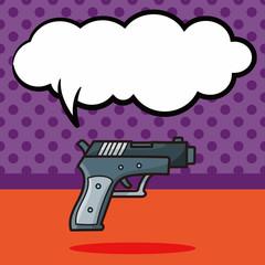 gun doodle, speech bubble