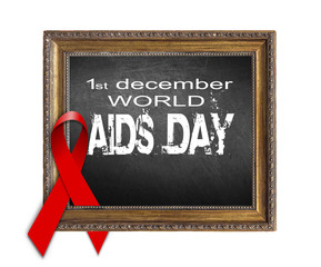 World Aids Day concept with red ribbon and aids awareness