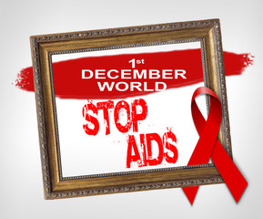 World STOP AIDS, World Aids Day concept with red ribbon
