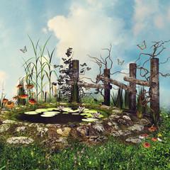 Wall Mural - Niewielki staw z drewnianym płotem, kwiatami i motylami