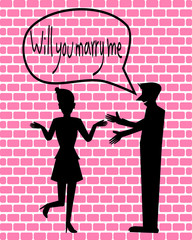 Silhouette Couple love, Will you marry me illustration