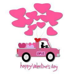 Happy valentine's day, Valentine's Day greeting card illustration. paper cut style