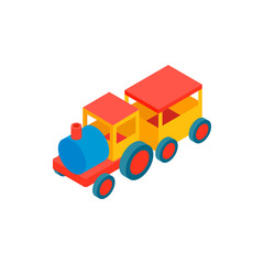 Train in amusement park isometric 3d icon