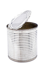Tin can for food on white background, Isolate image