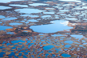 Aerial photos of arctic tundra wetlands