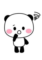 パンダのキャラクターイラスト素材 困る